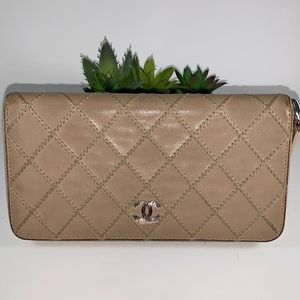 Chanel Big Stitch Lambskin Long Zippered Wallet